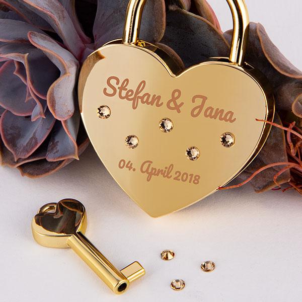 Goldenes Herz mit Swarovski Kristallen