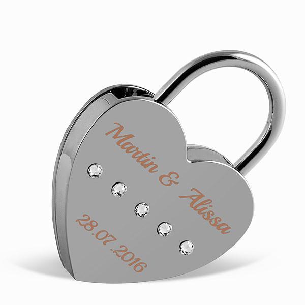 Liebesschloss Herzform silber mit runden Kristallen von Swarovski ®