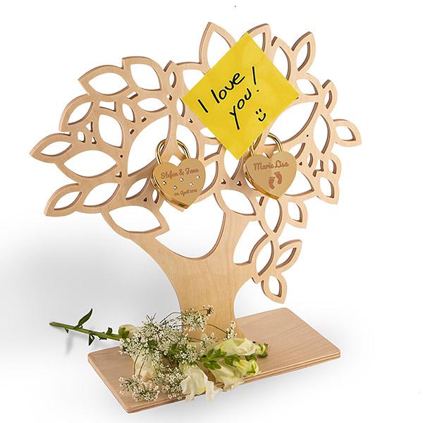 Liebesschloss-Baum aus Holz