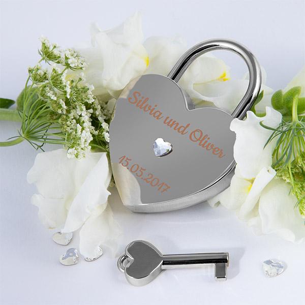 Silbernes Herzschloss mit Swarovski Kristallen