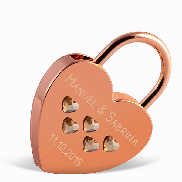 Liebesschloss Herzform roségold mit Herz Kristallen von Swarovski ®