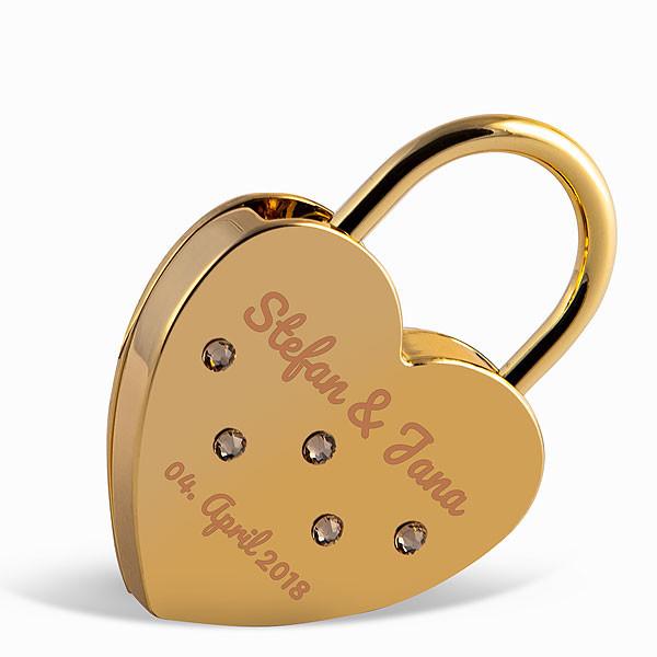 Liebesschloss Herzform gold mit runden Kristallen von Swarovski ®